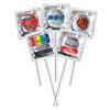Custom Labeled Assorted Flavors Pleasure Pop™ Silver/Clear Foil