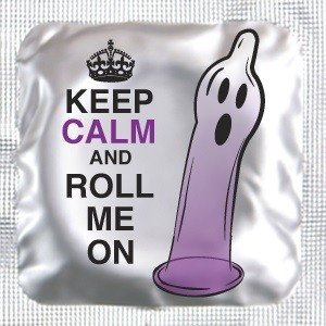 "Halloween ""Keep Calm and Roll me ON"" Lubricated Condom"
