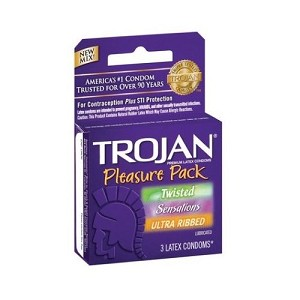 Trojan Pleasure Pack Lubricated Condoms 3ct